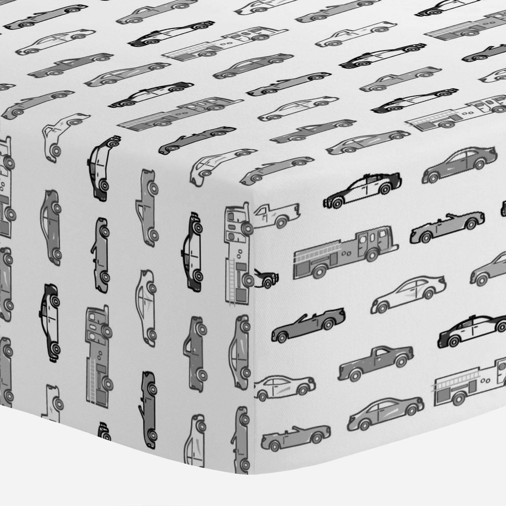 Product image for Gray Modern Cars Mini Crib Sheet