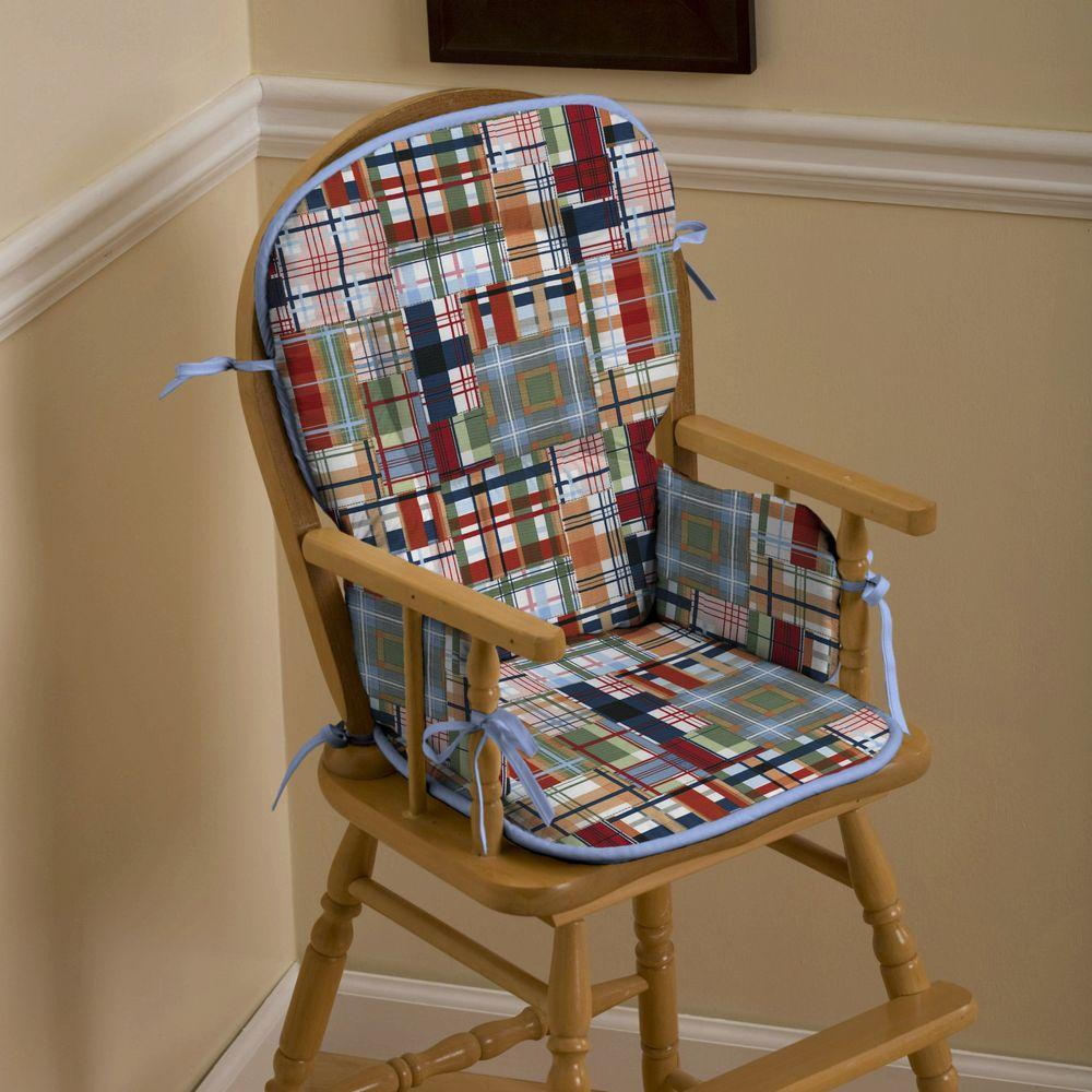 Product image for Patchwork Plaid High Chair Pad