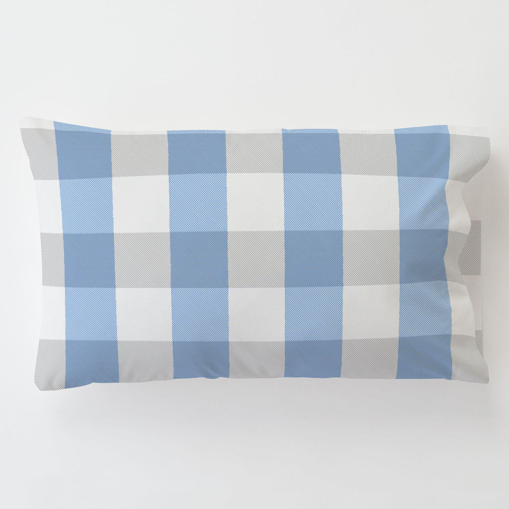 Product image for Blue and Silver Gray Buffalo Check Toddler Pillow Case