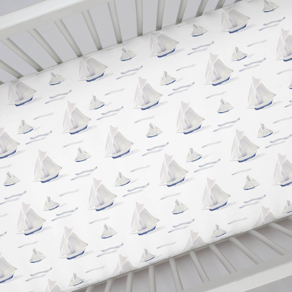 Product image for Watercolor Sailboats Crib Sheet
