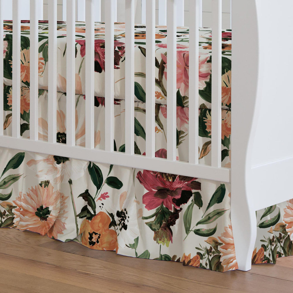 Product image for Moody Floral Crib Skirt Gathered