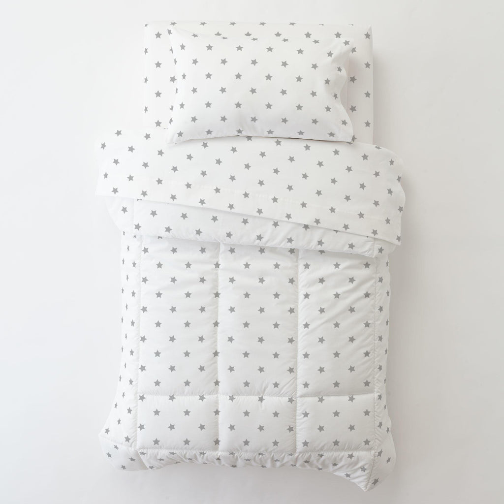 Product image for Silver Gray Stars Toddler Pillow Case with Pillow Insert