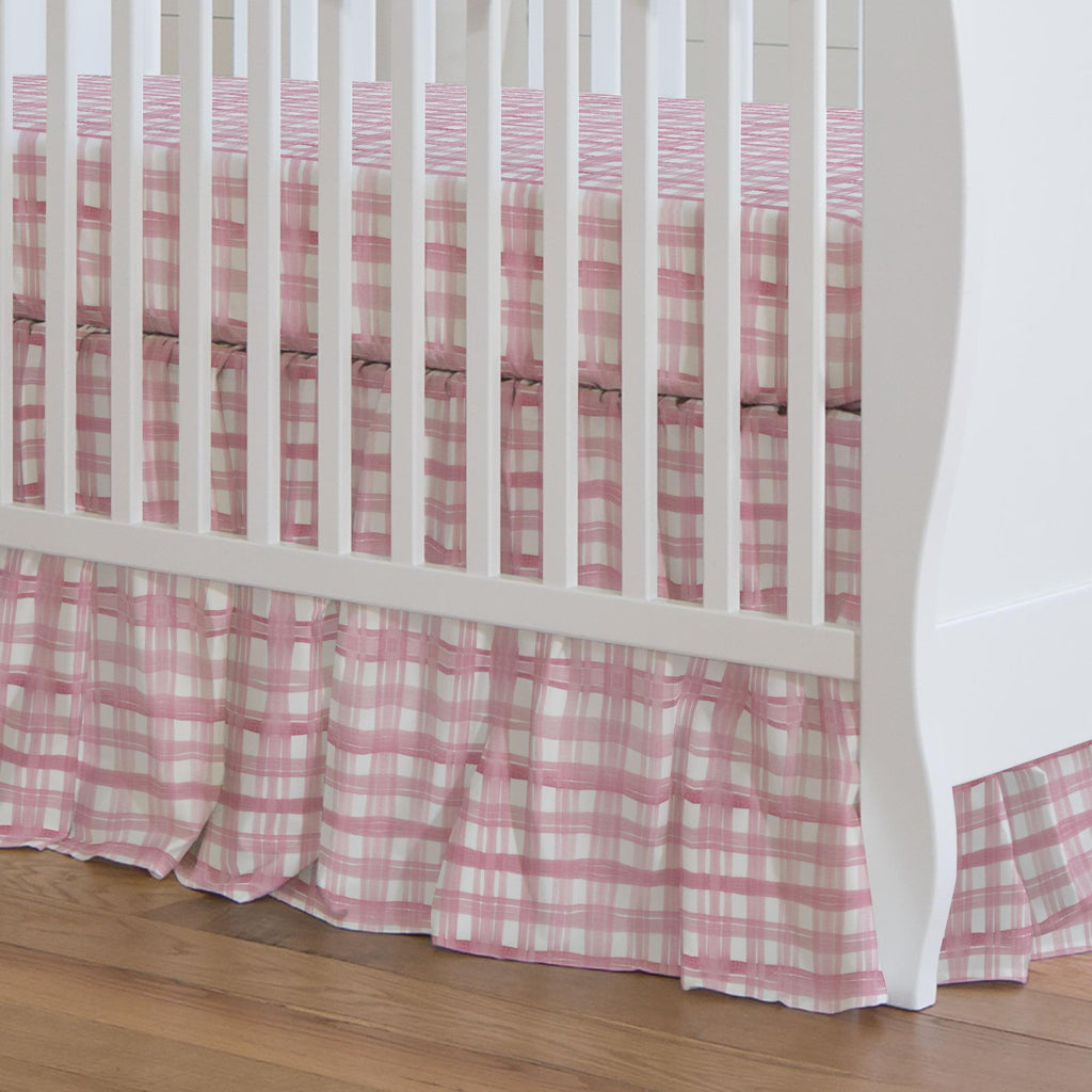 Product image for Pink Watercolor Plaid Crib Skirt Gathered