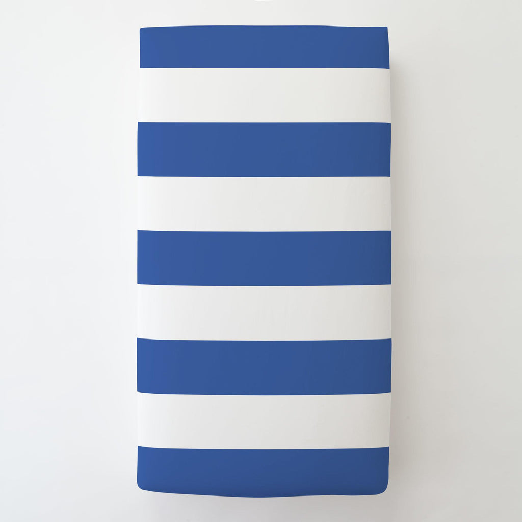 Product image for Ocean Blue Horizontal Stripe Toddler Sheet Bottom Fitted