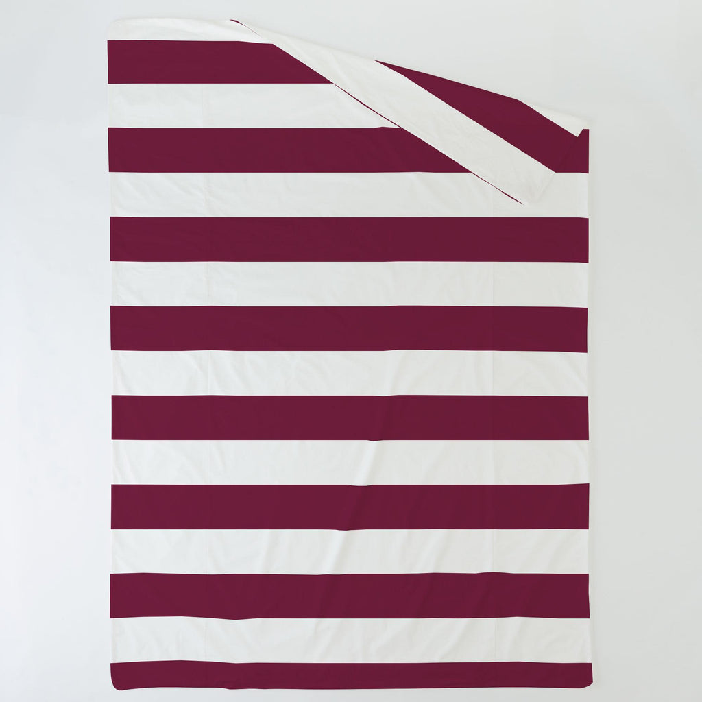 Product image for Maroon Horizontal Stripe Duvet Cover