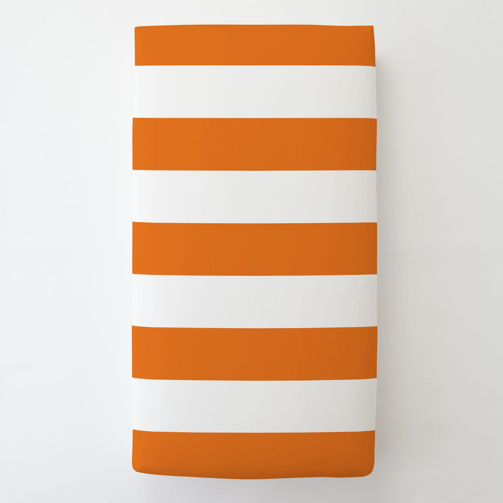 Product image for Orange Horizontal Stripe Toddler Sheet Bottom Fitted