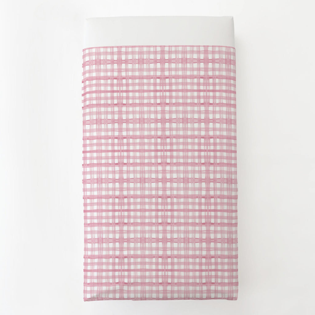 Product image for Pink Watercolor Plaid Toddler Sheet Top Flat