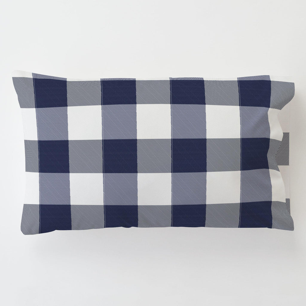 Product image for Navy and White Buffalo Check Toddler Pillow Case