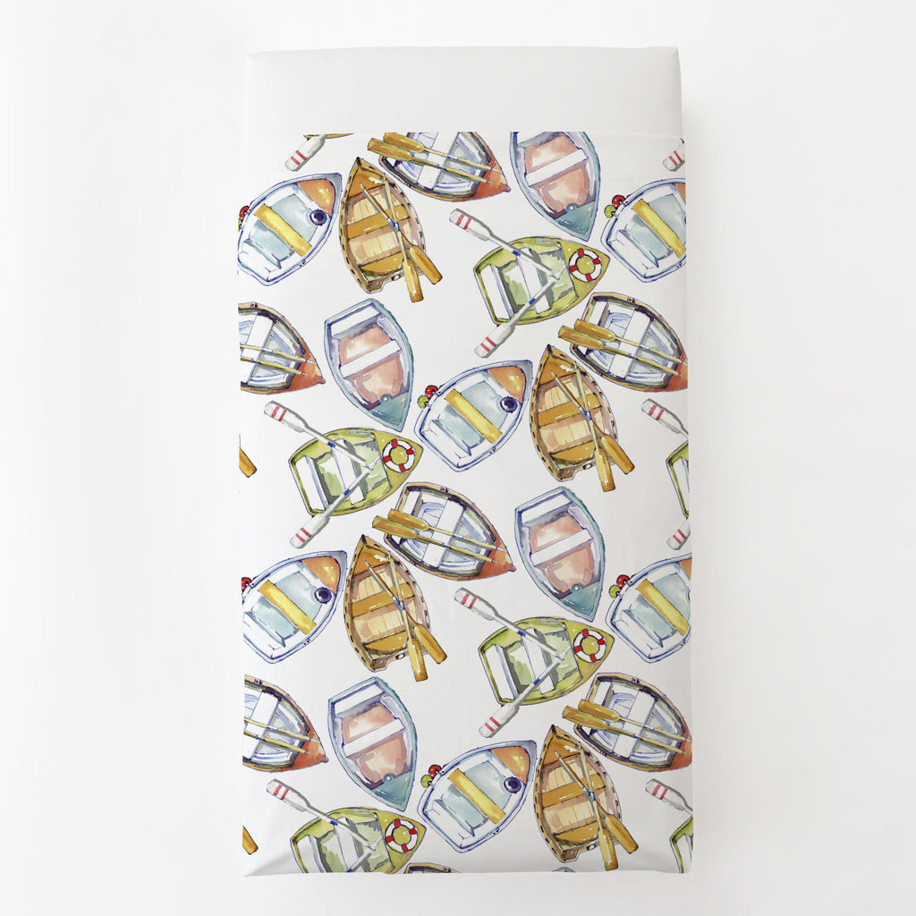 Product image for Watercolor Boats Toddler Sheet Top Flat