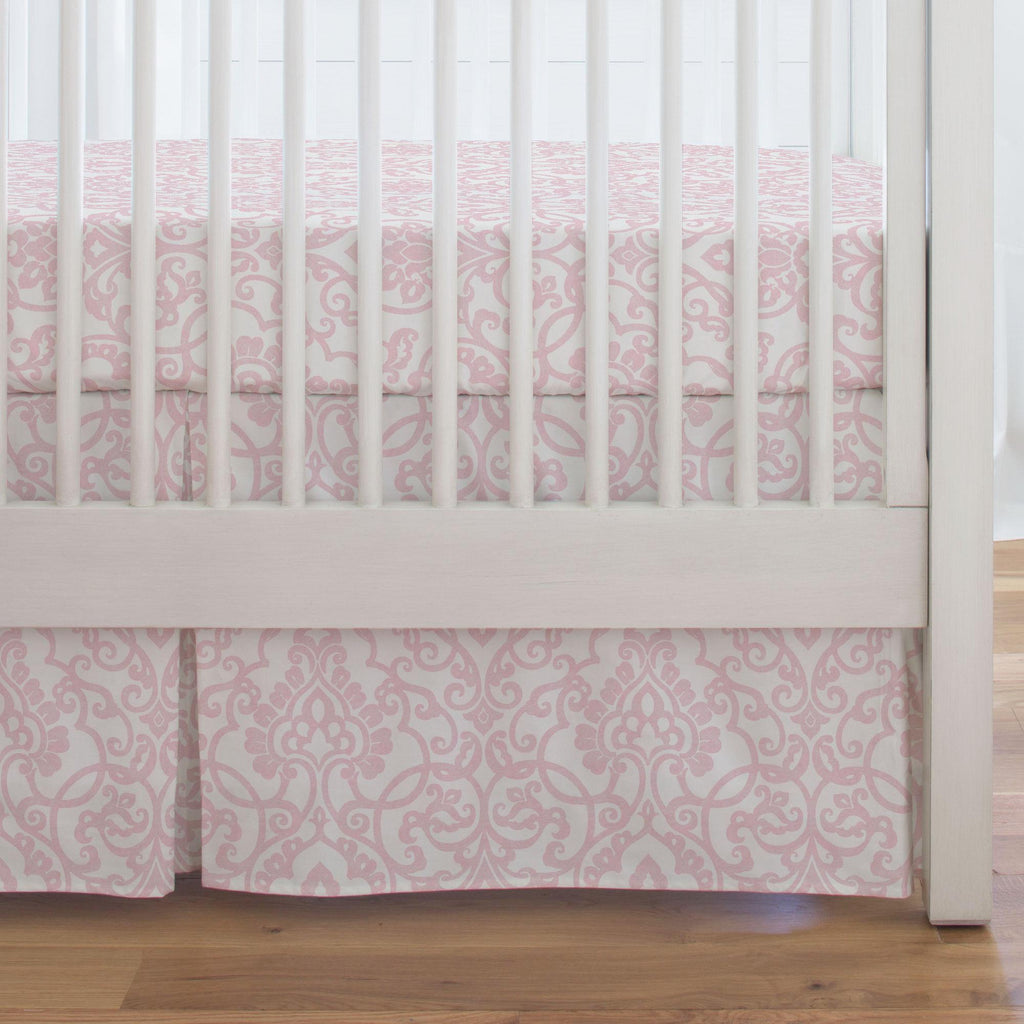 Product image for Pink Filigree Crib Skirt Single-Pleat