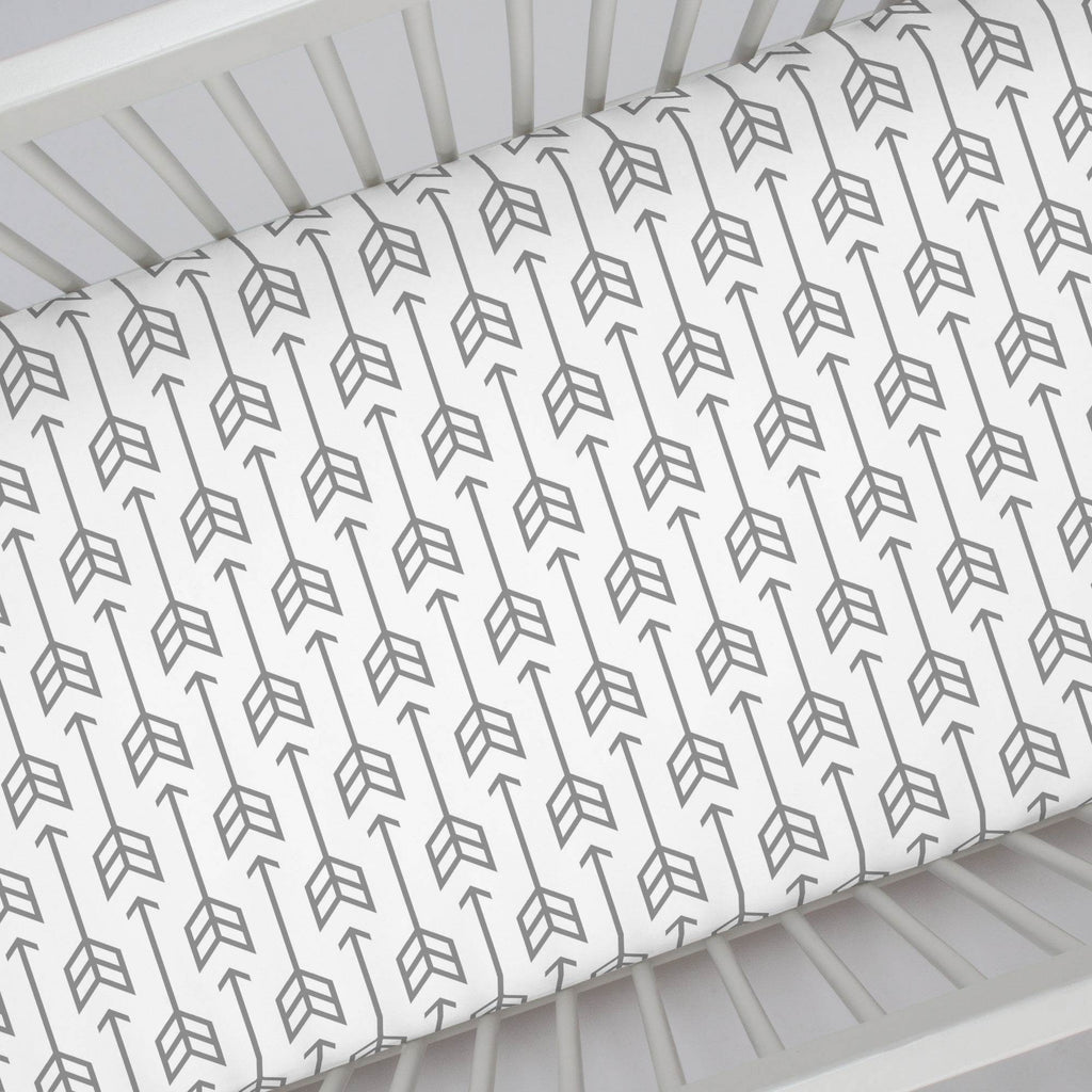 Product image for Cloud Gray Arrow Crib Sheet