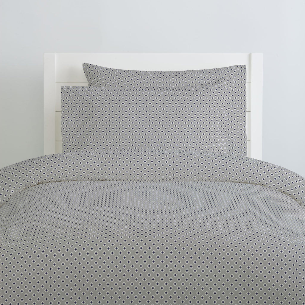 Product image for Silver Gray and Navy Diamond Pillow Case