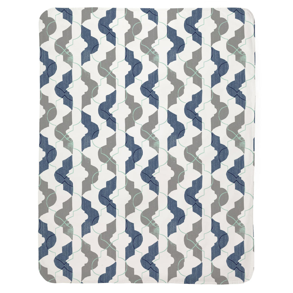 Product image for Denim and Gray Modern Quatrefoil Baby Blanket
