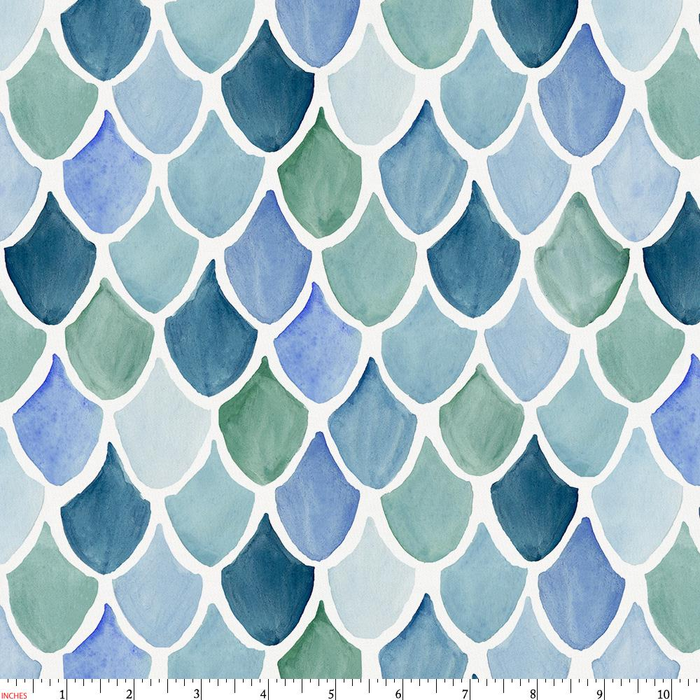 Product image for Blue Watercolor Scales Fabric