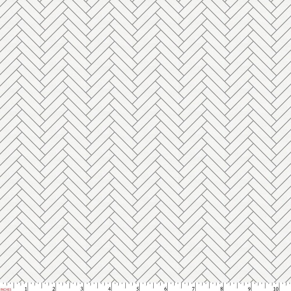 Product image for White and Cloud Gray Classic Herringbone Fabric
