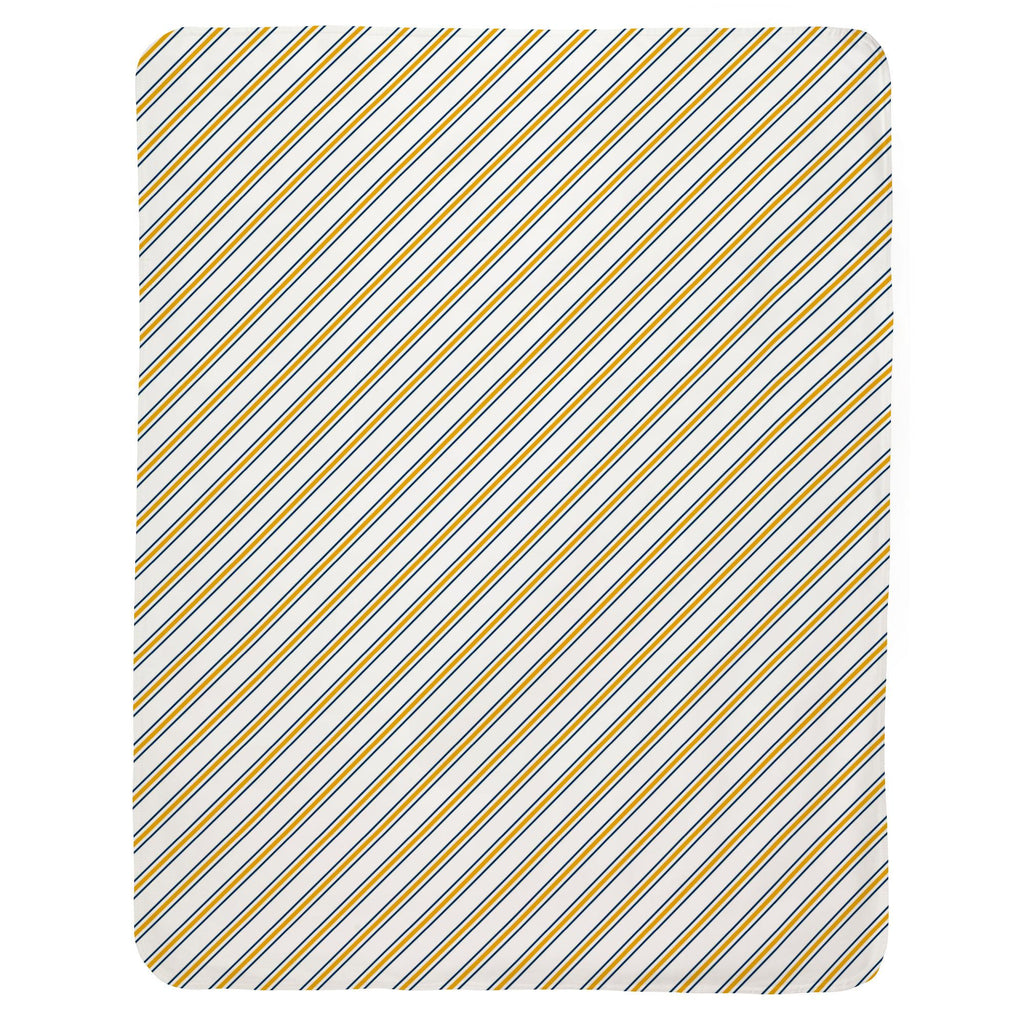 Product image for Navy and Yellow Necktie Stripe Baby Blanket