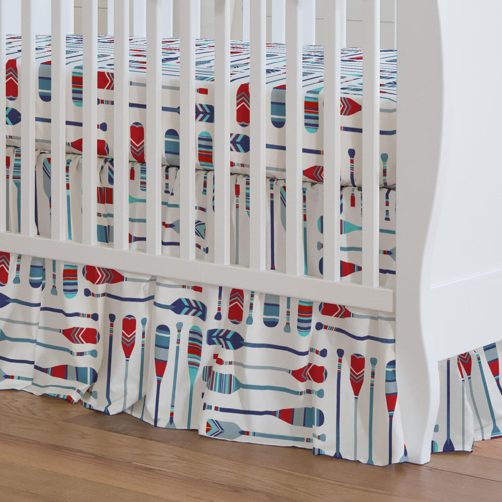 Product image for Red and Blue Oars Crib Skirt Gathered