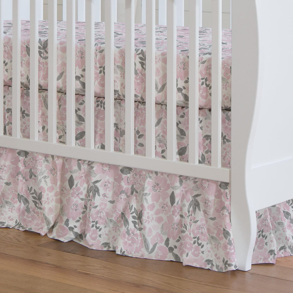 Product image for Pink and Gray Prairie Floral Crib Skirt Gathered