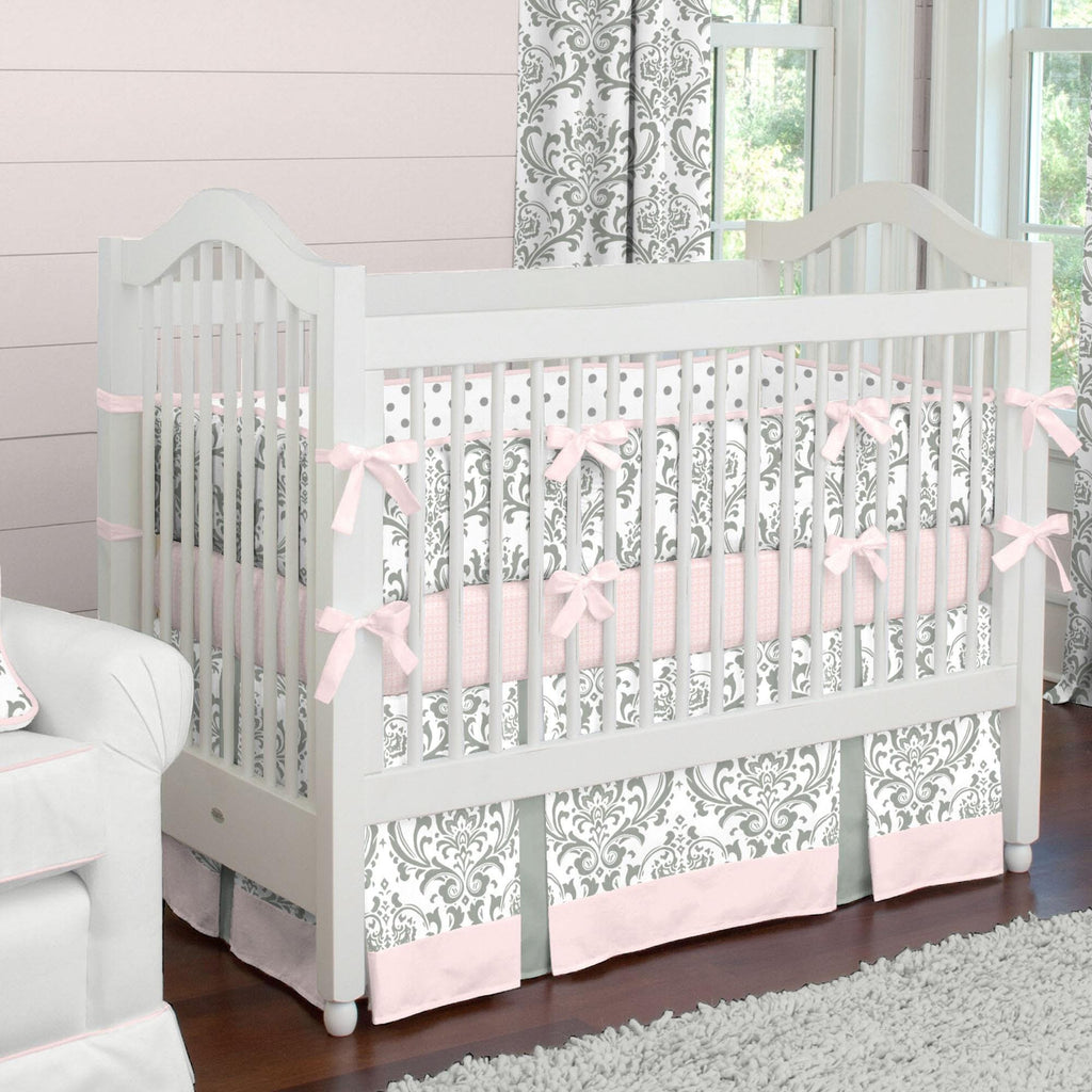 Product image for Gray Traditions Damask Crib Comforter with Piping