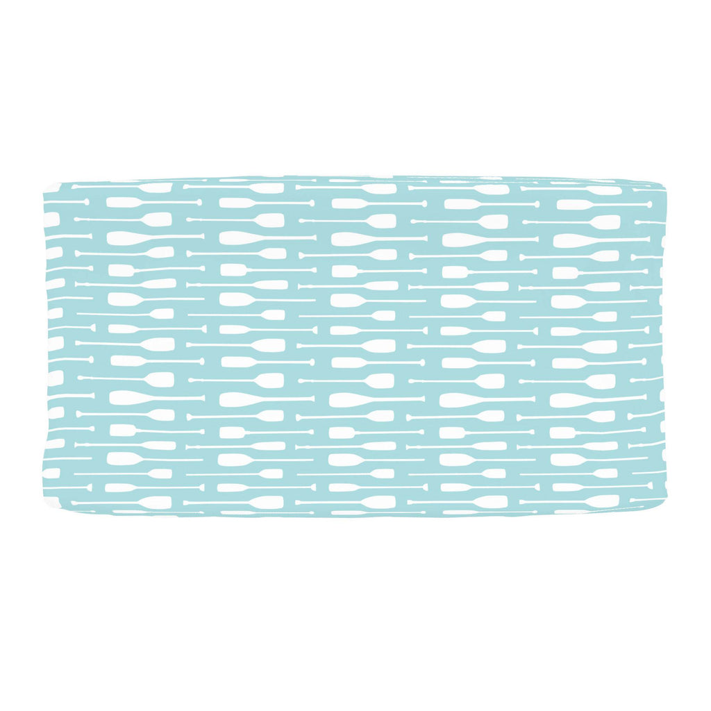 Product image for Seafoam Aqua and White Oars Changing Pad Cover