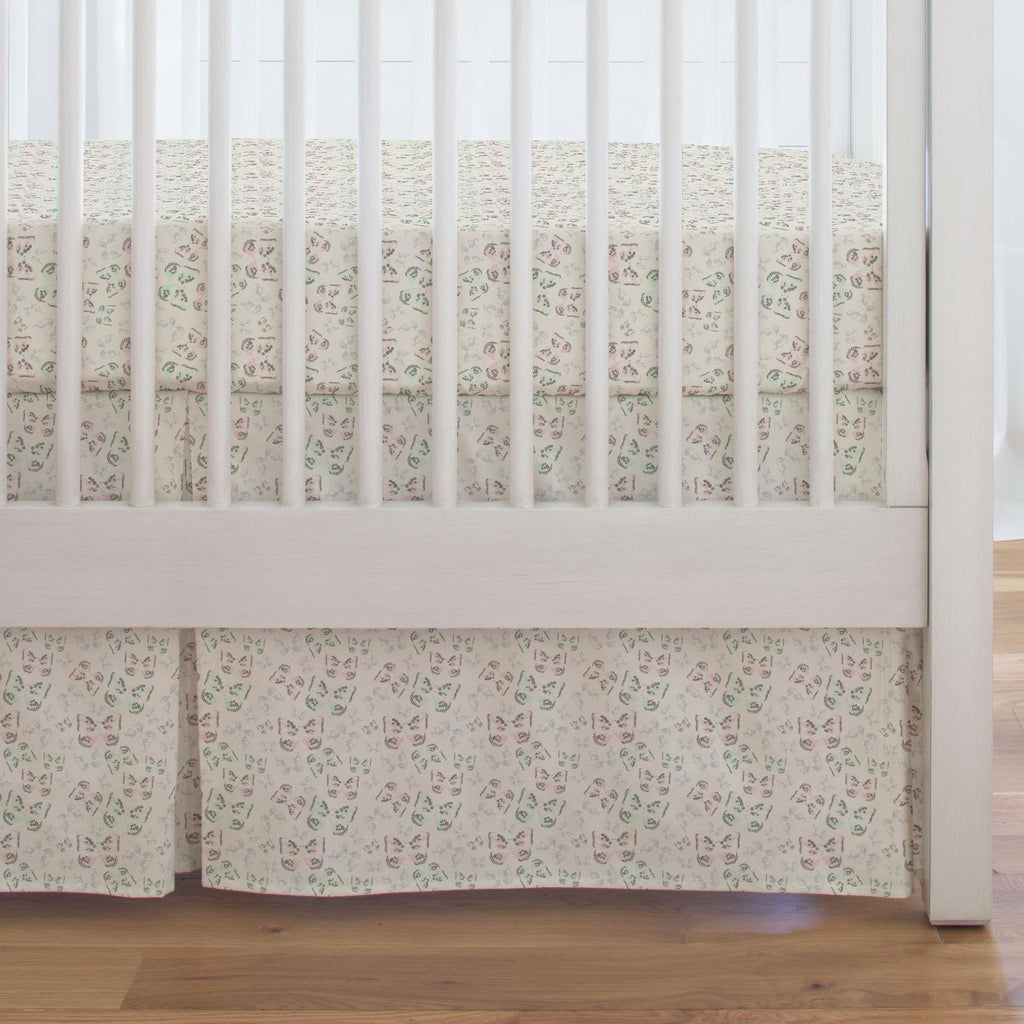 Product image for Blush and Ivory Butterfly Crib Skirt Single-Pleat