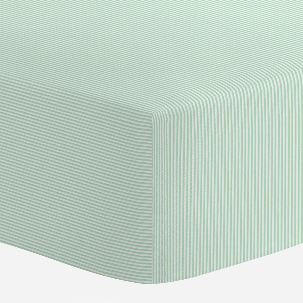Product image for Mint Mini Stripe Mini Crib Sheet