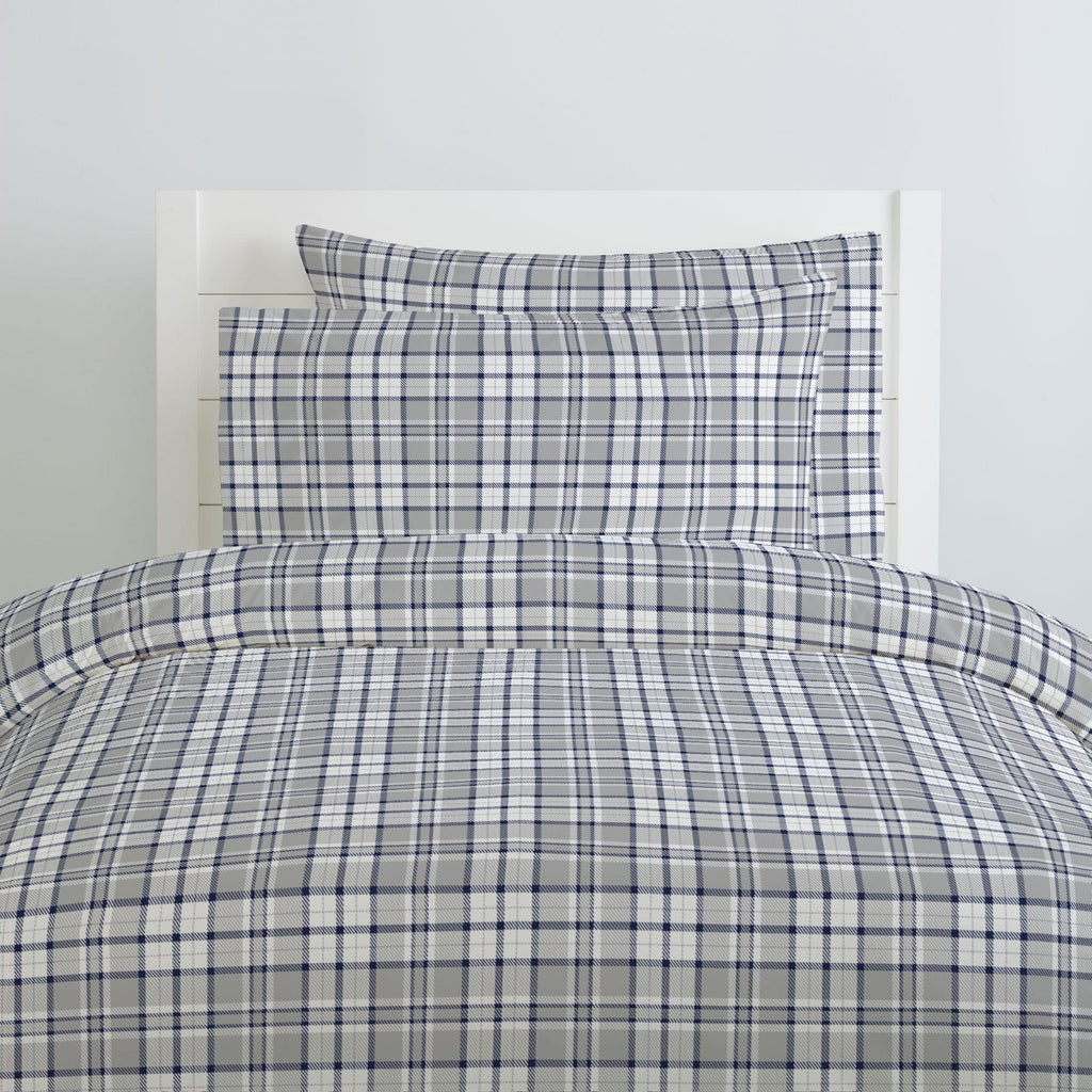 Product image for Navy and Gray Plaid Pillow Case