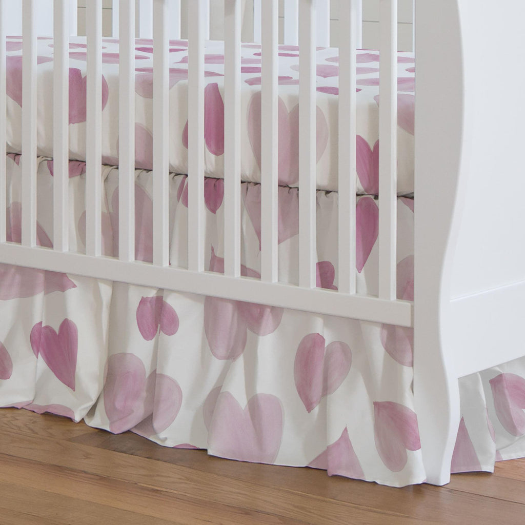 Product image for Pink Watercolor Hearts Crib Skirt Gathered