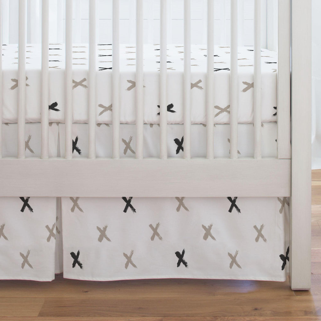 Product image for Taupe and Slate Gray Brush X Crib Skirt Single-Pleat
