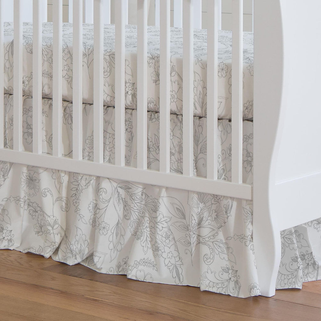 Product image for Cloud Gray Sketchbook Floral Crib Skirt Gathered