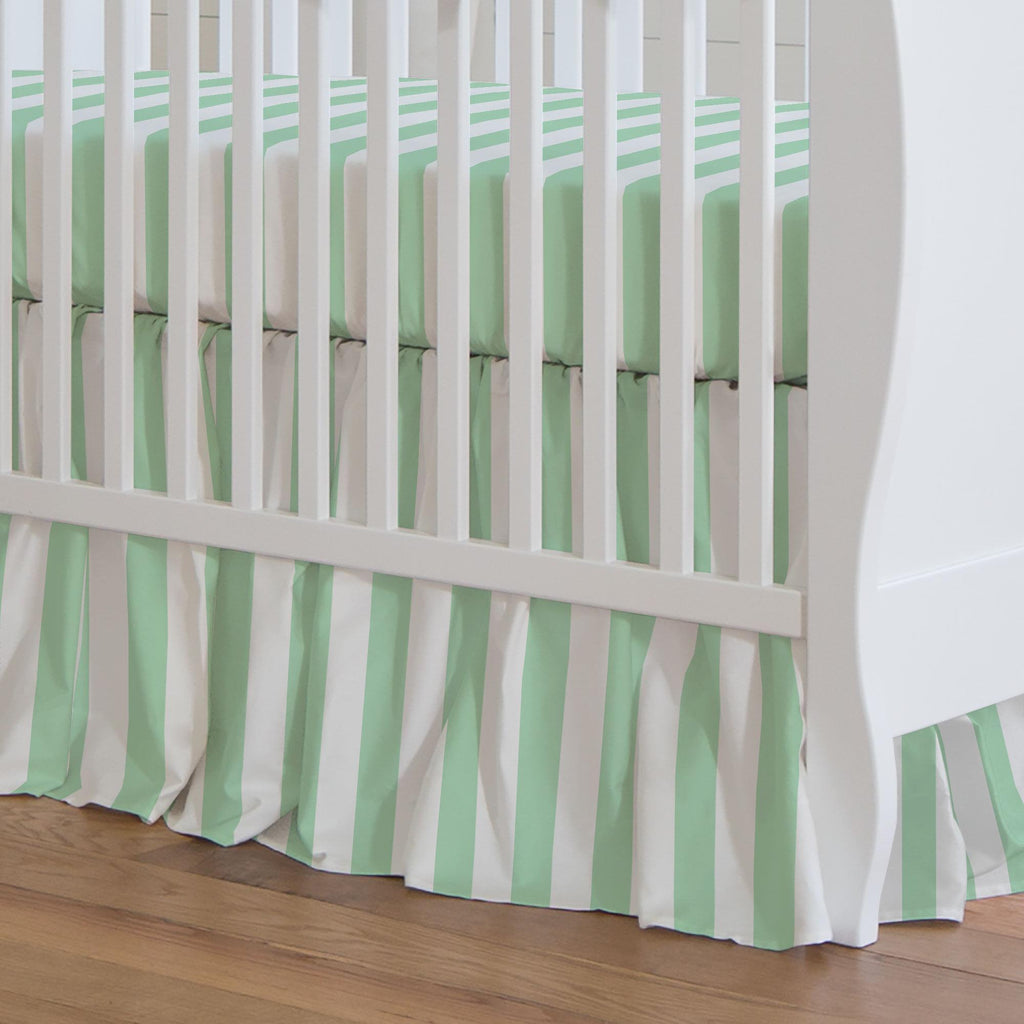 Product image for Mint Stripe Crib Skirt Gathered