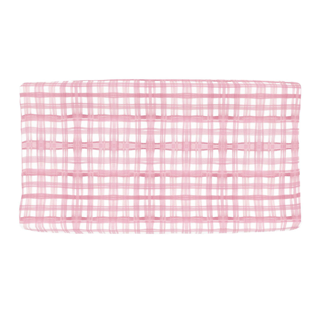Product image for Pink Watercolor Plaid Changing Pad Cover