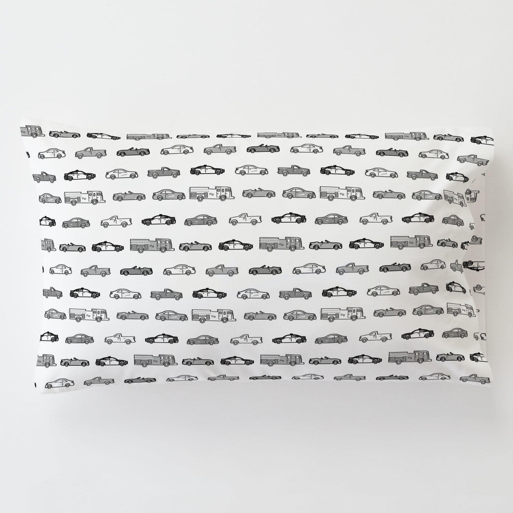 Product image for Gray Modern Cars Toddler Pillow Case