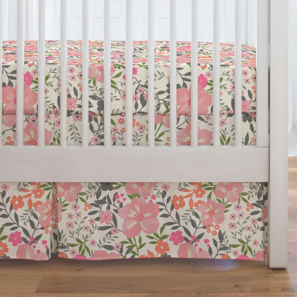 Product image for Pink and Orange Floral Tropic Crib Skirt Single-Pleat