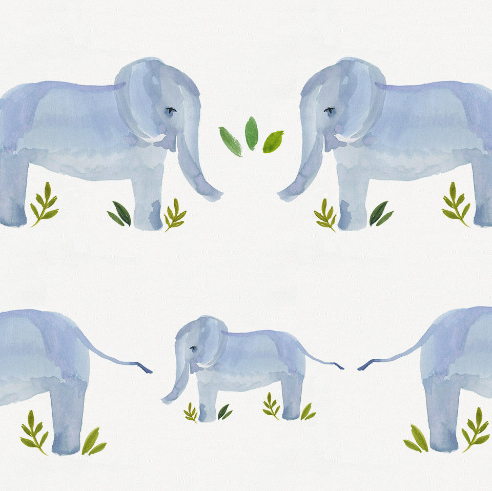 Product image for Painted Elephants Crib Bumper