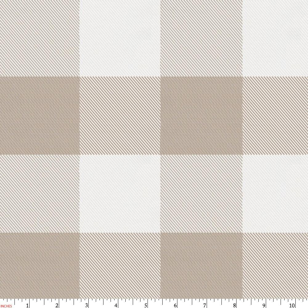 Product image for Taupe and White Buffalo Check Fabric