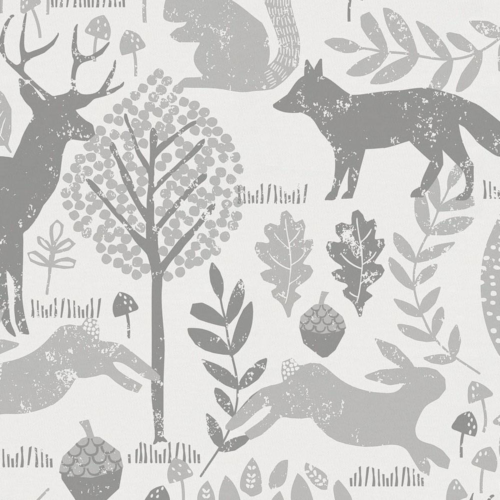 Product image for Gray Woodland Animals and Solid Navy Drape Panel with Ties