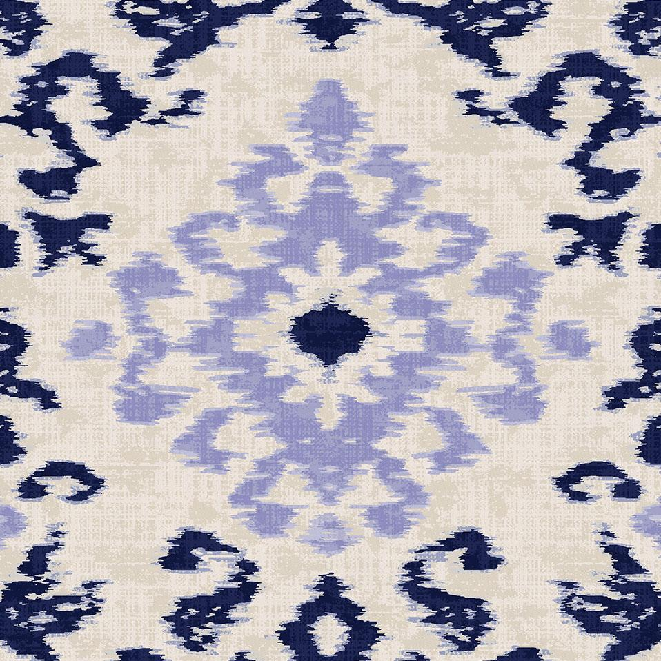 Product image for Navy and Lavender Ikat Damask Drape Panel