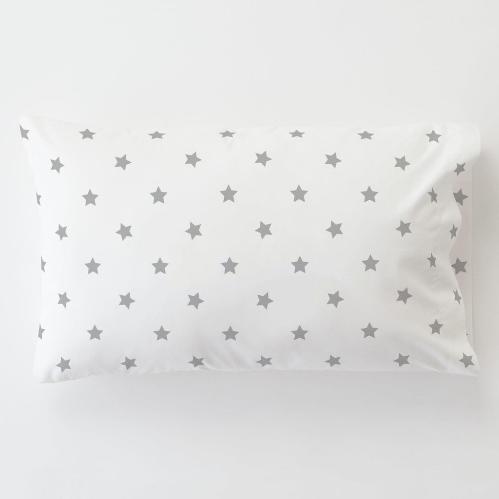 Product image for Silver Gray Stars Toddler Pillow Case
