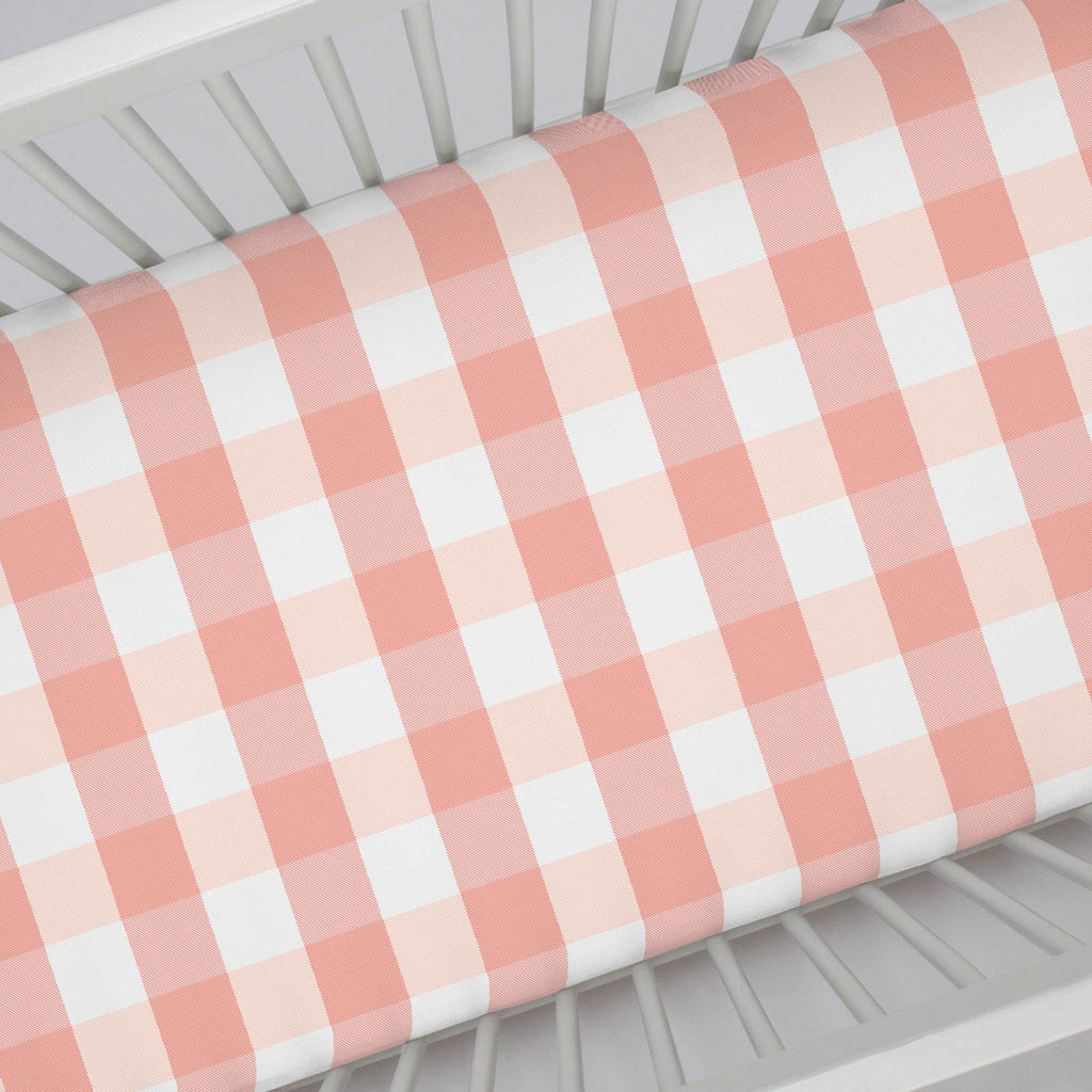 Product image for Light Coral and Peach Buffalo Check Crib Sheet