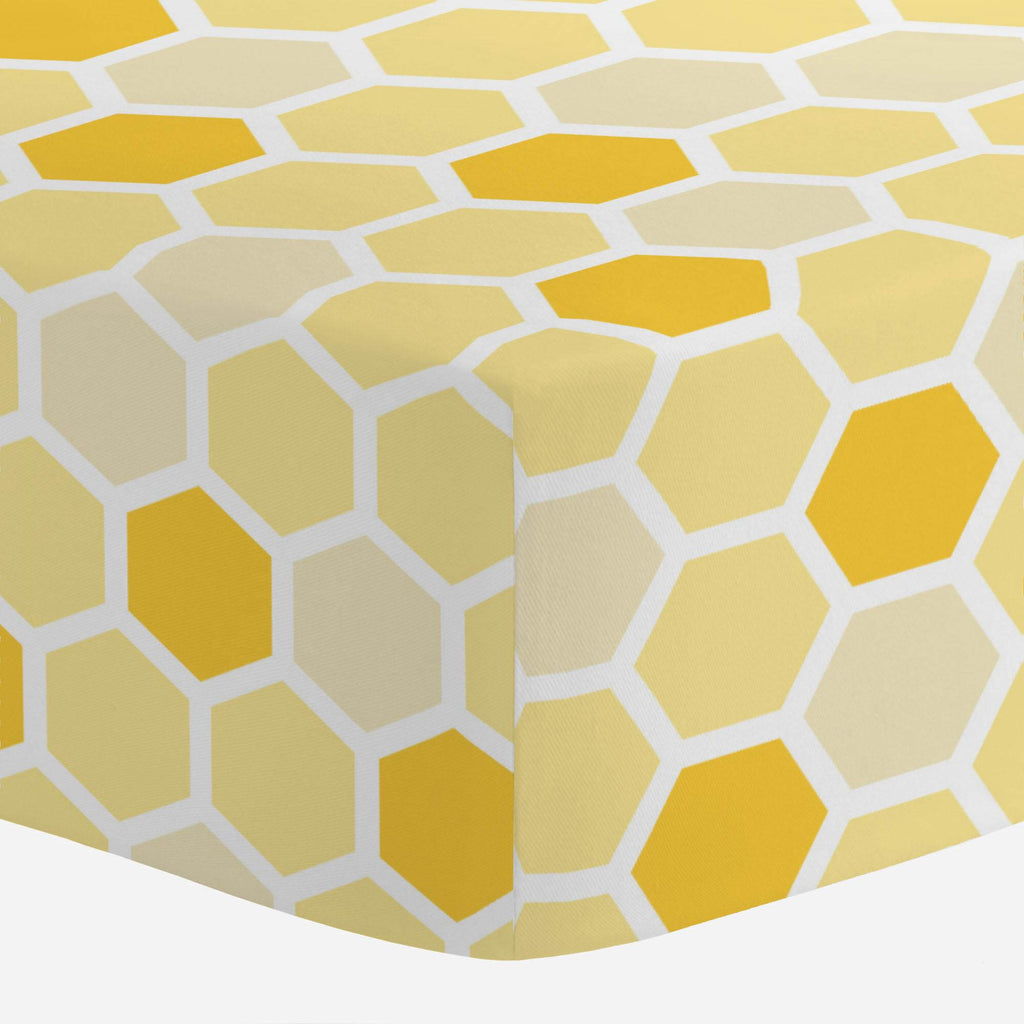 Product image for Yellow Honeycomb Mini Crib Sheet