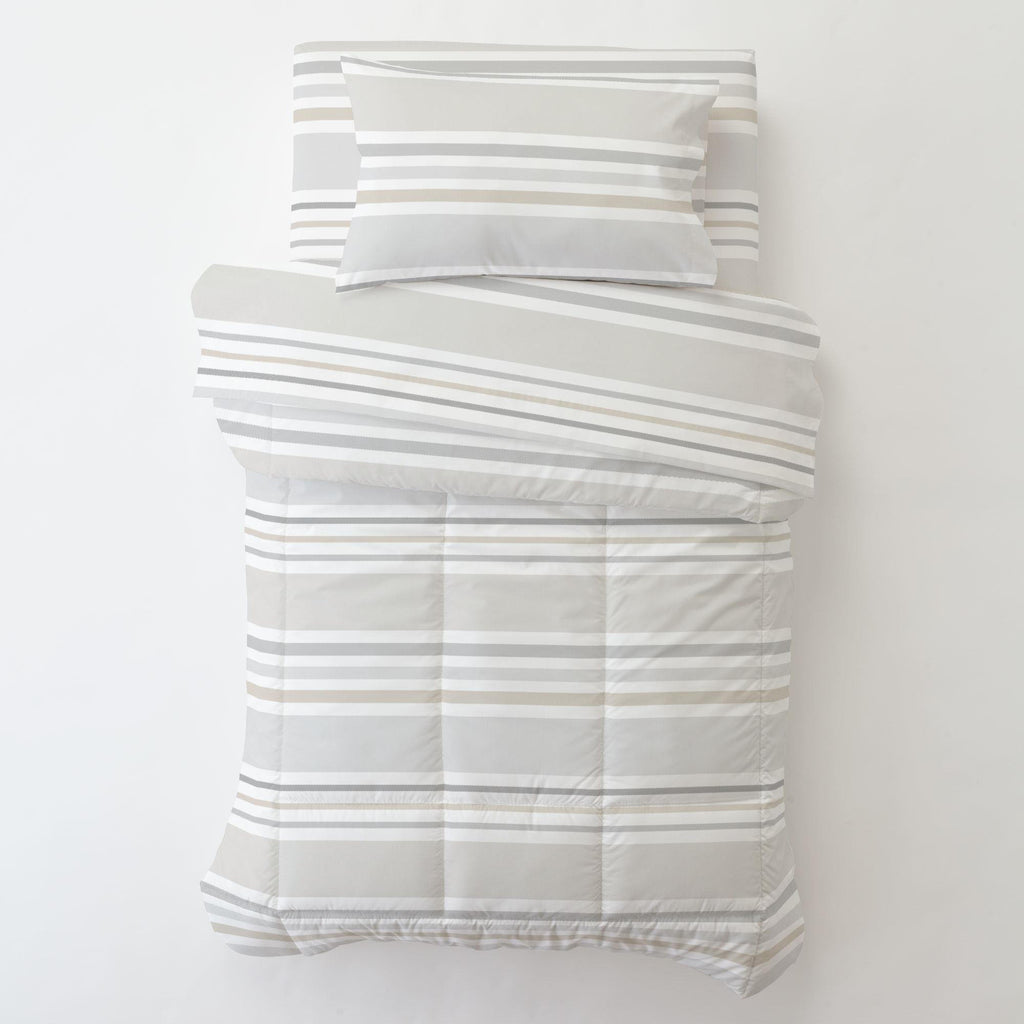 Product image for French Gray and Taupe Summer Stripe Toddler Pillow Case with Pillow Insert