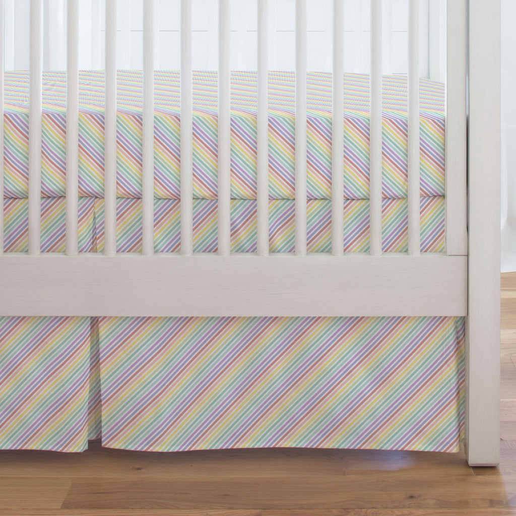 Product image for Pastel Rainbow Stripe Crib Skirt Single-Pleat