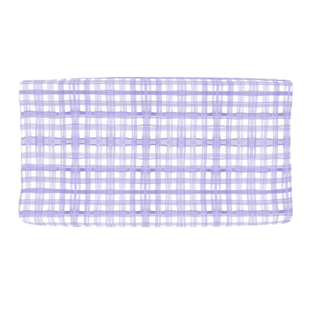 Product image for Lilac Watercolor Plaid Changing Pad Cover