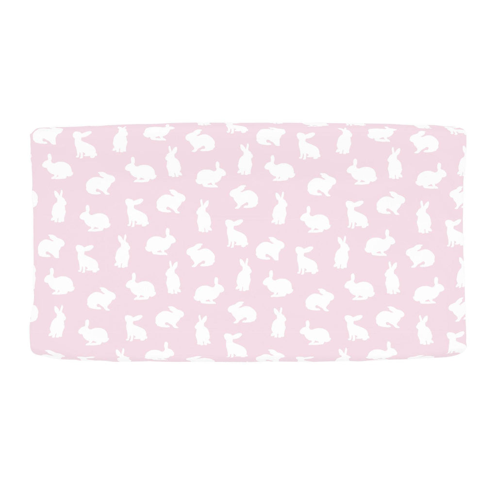 Product image for Pink and White Bunnies Changing Pad Cover