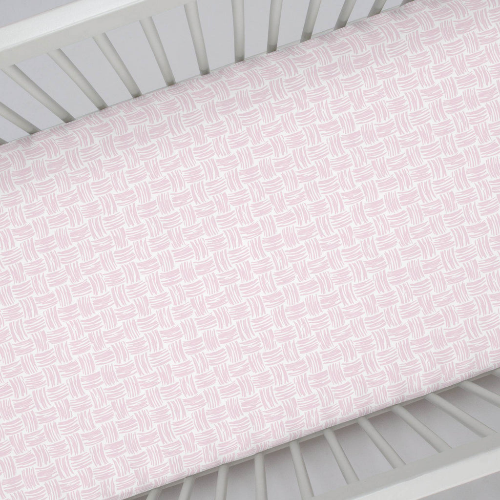 Product image for Pink Basket Weave Crib Sheet