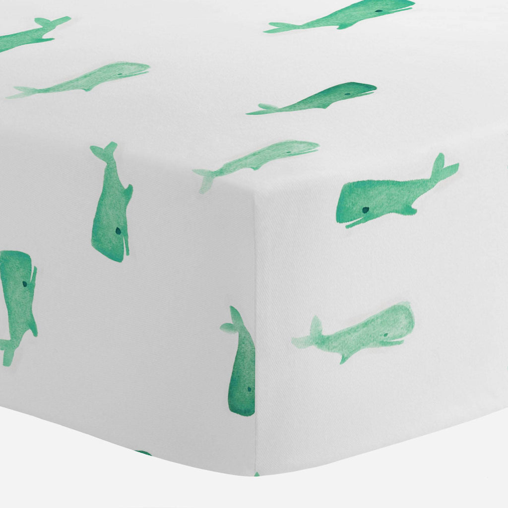 Product image for Mint Whale of a Tale Mini Crib Sheet