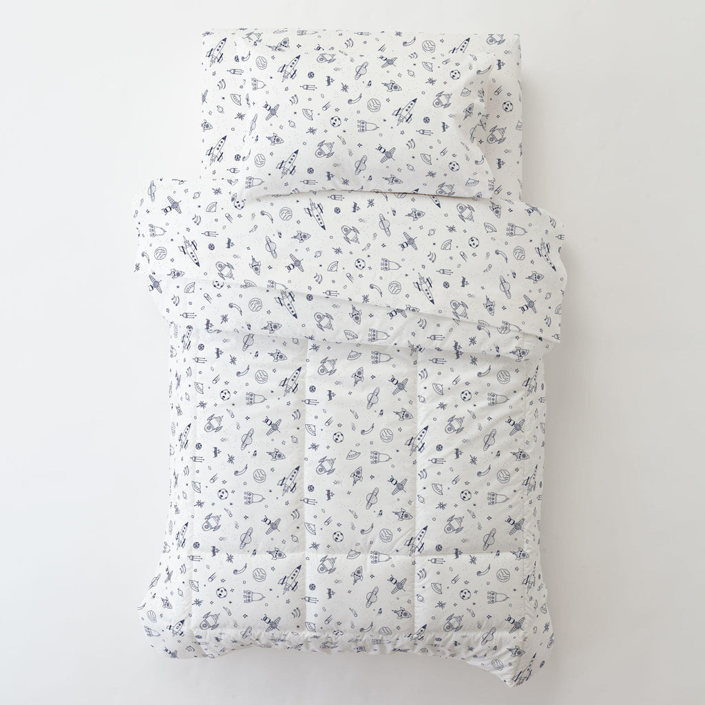 Product image for Windsor Navy and White Rockets Toddler Pillow Case with Pillow Insert