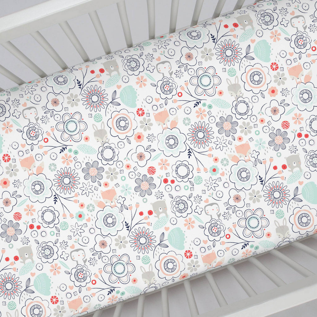 Product image for Coral Spring Doodles Crib Sheet