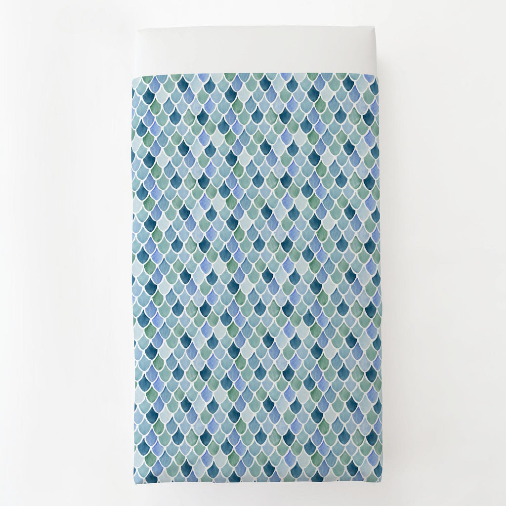 Product image for Blue Watercolor Scales Toddler Sheet Top Flat